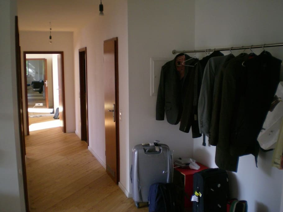 corridor and dorm with mirror at the back