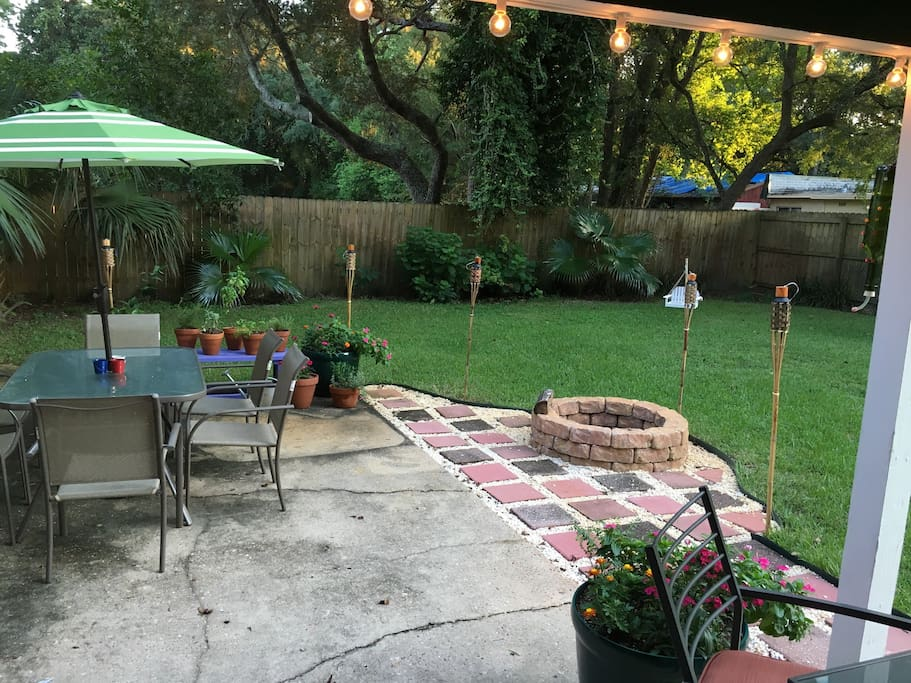 Patio with bonfire pit and large backyard for kids/pets. Let us know ahead of time if you plan on using the pit and we'll make sure to have it ready!