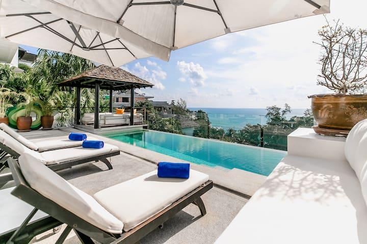 Modern 4-BR Seaview Villa at Surin Beach