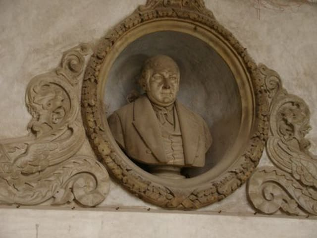 detail of ancestor in a marble staircase