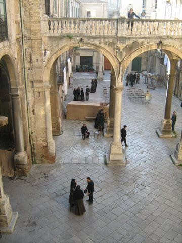 the courtyard during a films shoot
