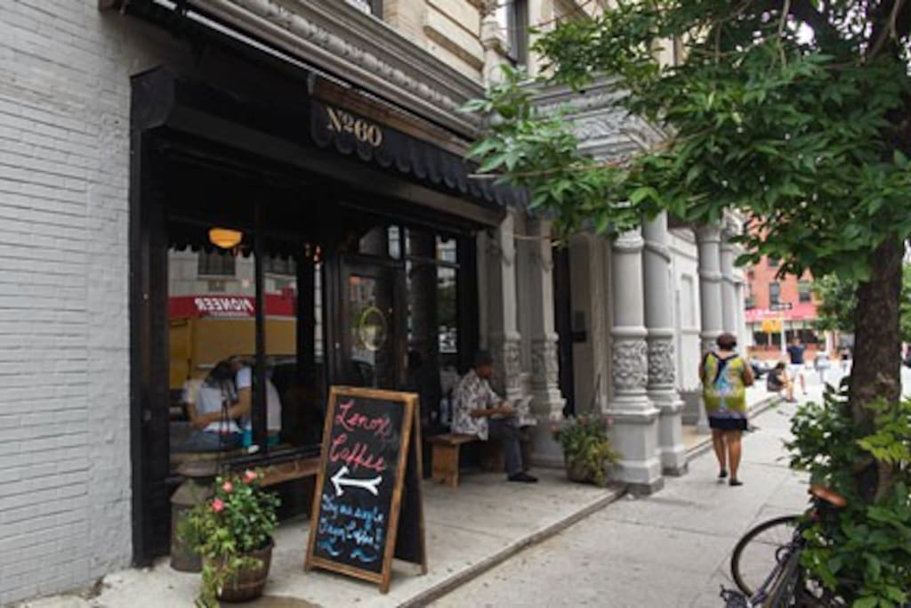 Lenox Coffee is rated one of the top coffeeshops in all of NYC. Those pillars pictured next to it? The entrance to our building.