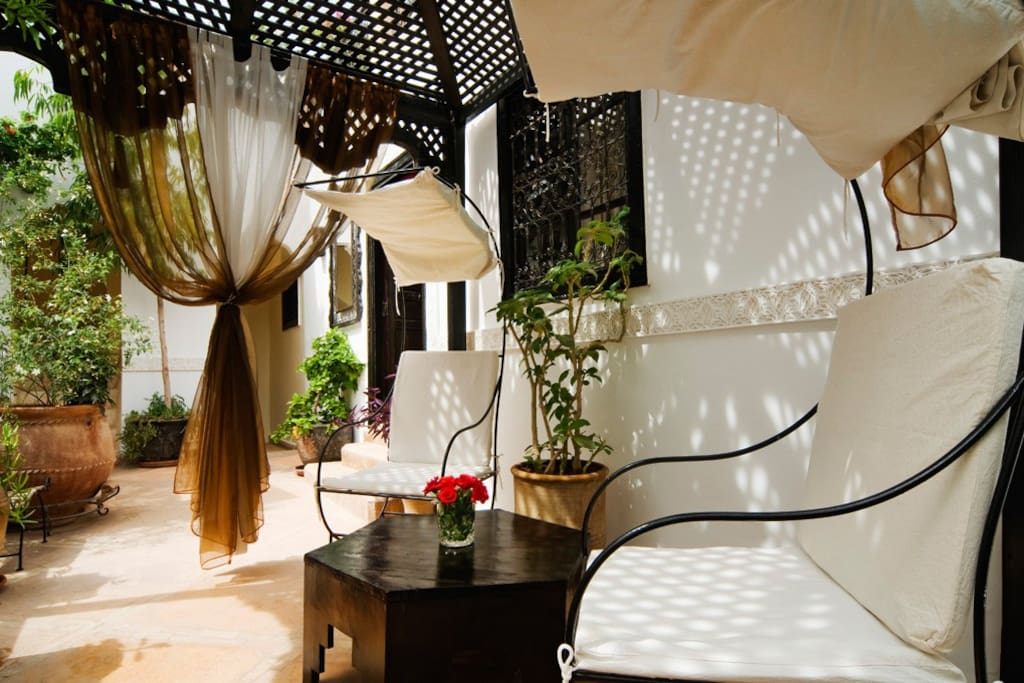 A small private terrace at the entrance to the room.