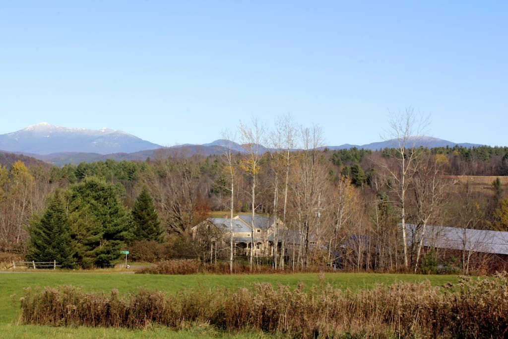 This is our farm in the spring with a view of Mt.Mansfield in the background. There are many skiing and winter sports activities to enjoy on our land, in Richmond, and close by.