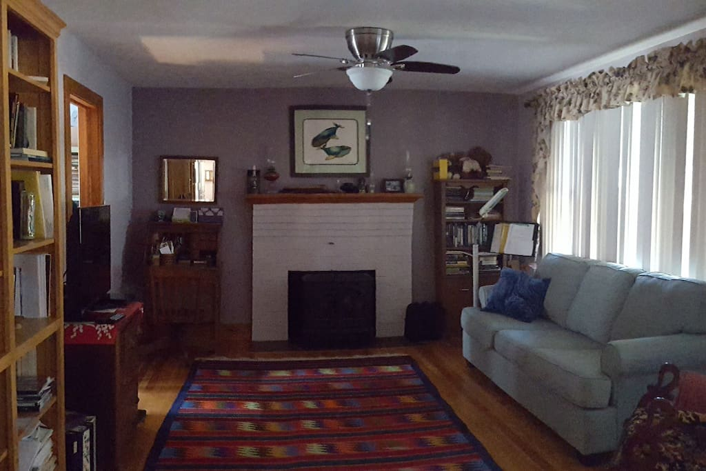 Living room features a queen-sixed pull out sofa.  Wood stove is not functional.