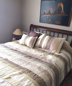 Comfortable Queen Room and Bath. No Hidden Fees!