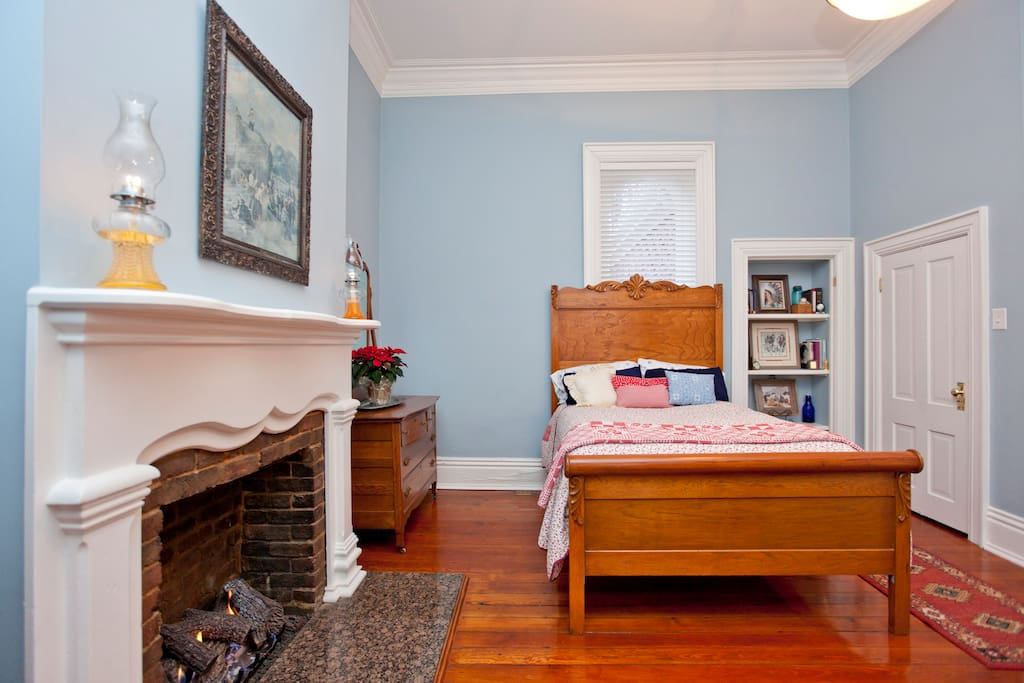 Your bedroom has a fireplace, desk, TV, & internet.   (room is furnished with  antiques).