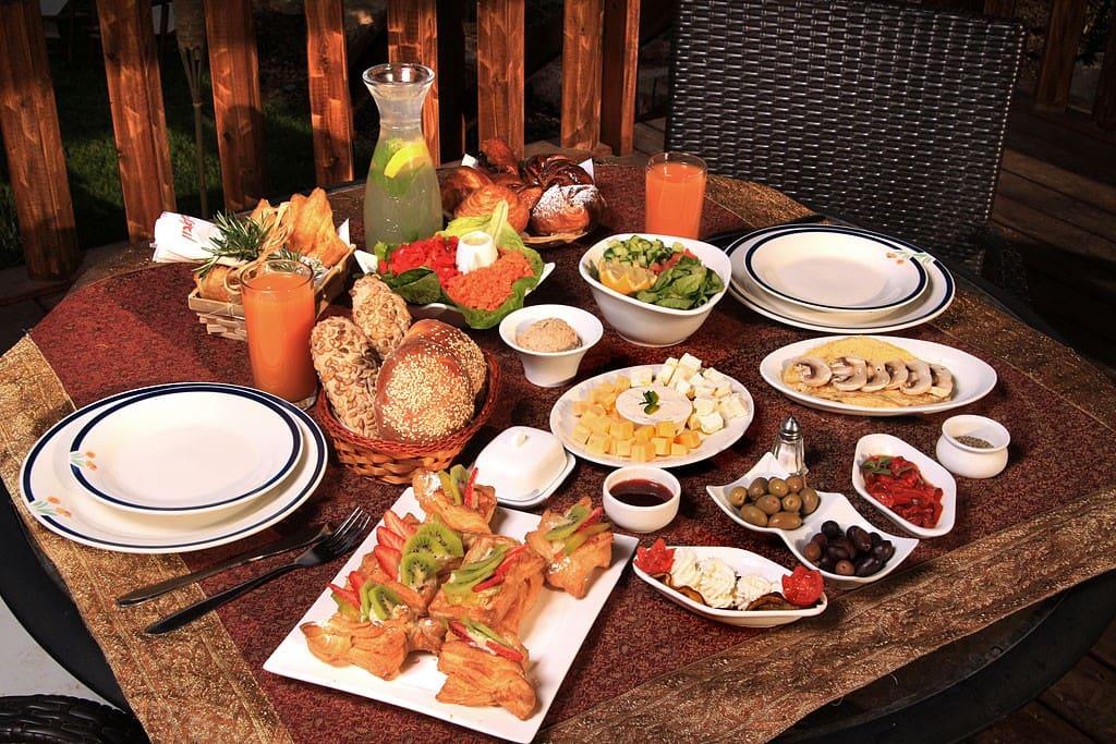 Israeli breakfast on the terrace