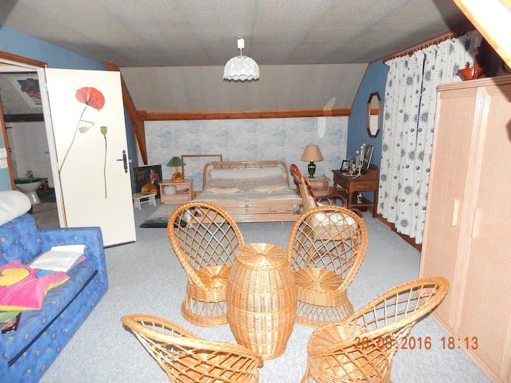 Very roomy room with balcony, private bathroom.