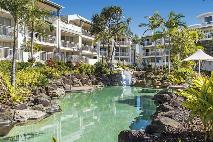 Enjoy views of the beach and lagoon pool