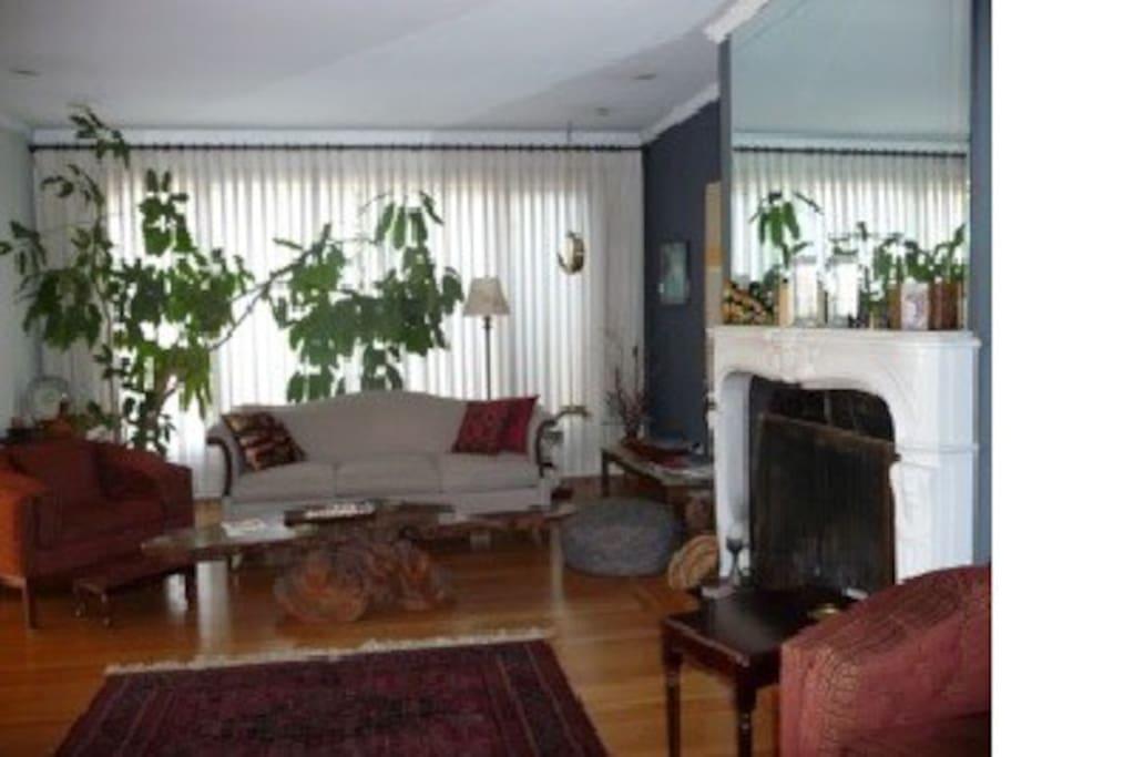 Huge living room with FP, Hard Wood floors
