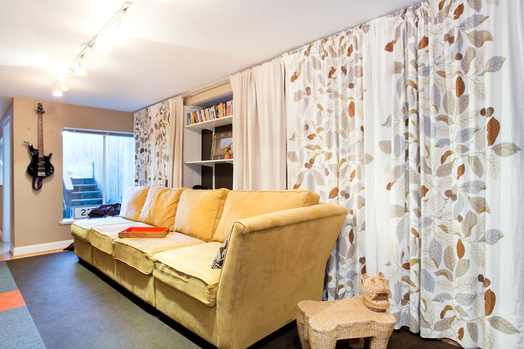 Private living area with cable television, wi-fi, and bright natural light