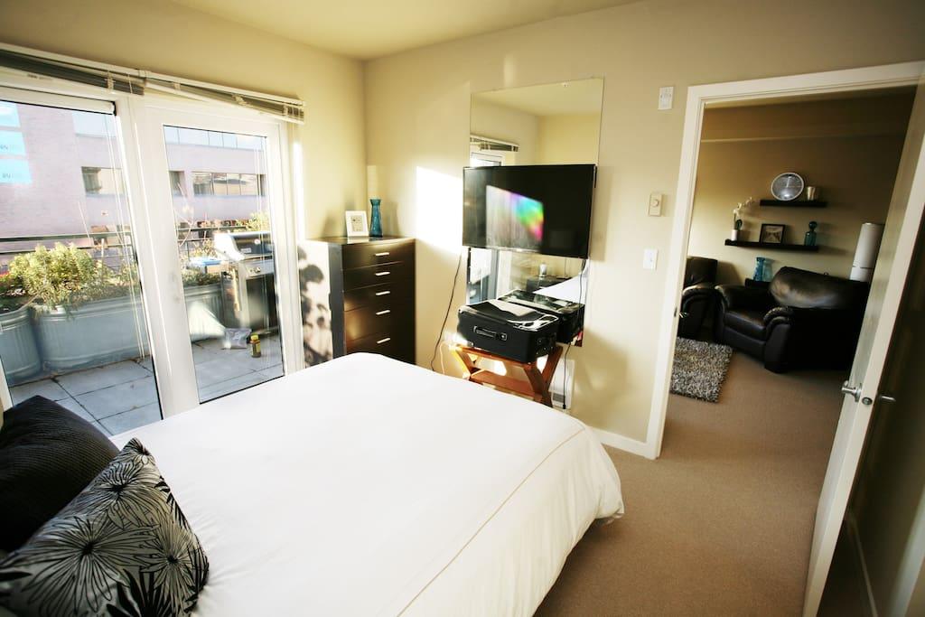 Bedroom also has a Smart TV