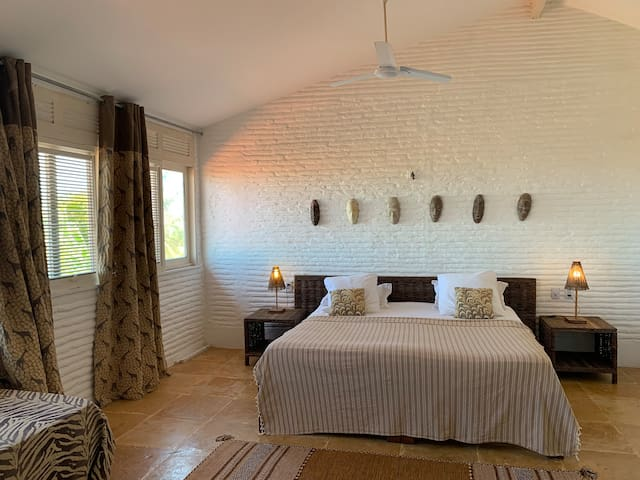 One of our family bedrooms on the first floor has a great view of the ocean