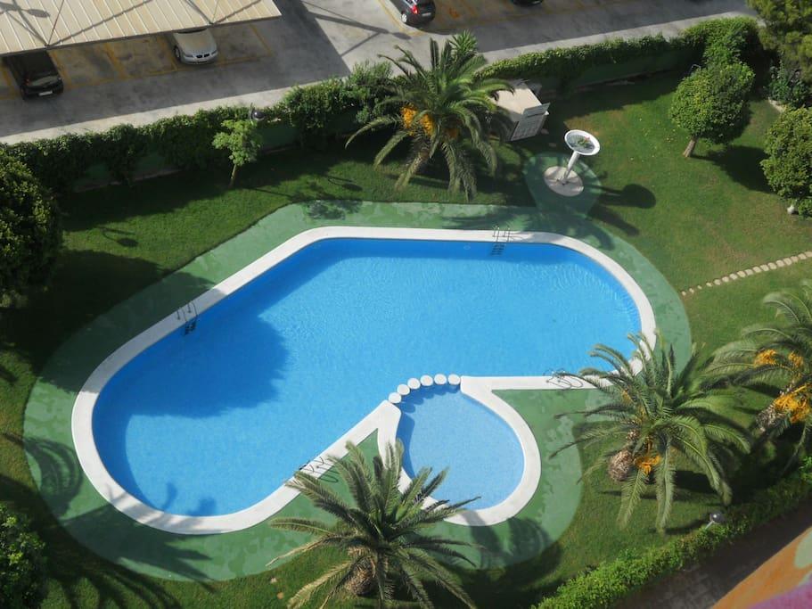 Acogedor apart con piscina a 250m del mar falmilia for Piscina la almudena