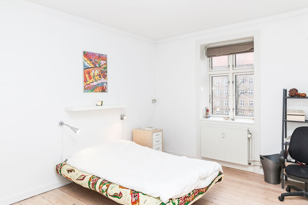 This is the bedroom with a great bed. The bed is now much bigger than when we took the photo. So plenty of space for two persons. We can be of help with beddings if needed.