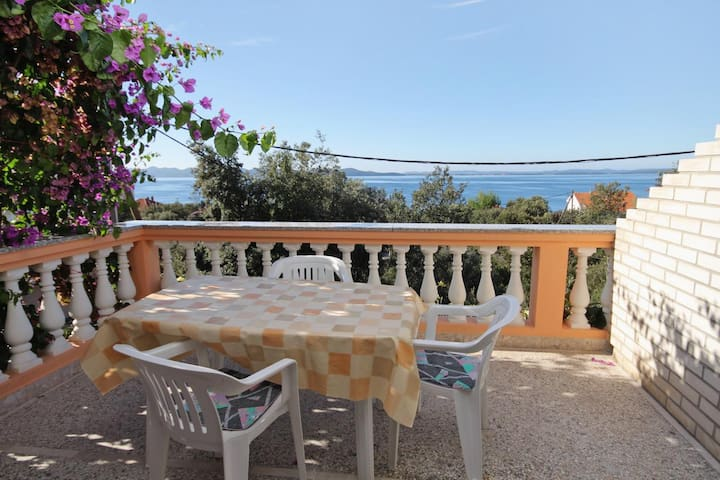 One bedroom apartment with terrace and sea view Kožino (Zadar) (A-5749-c)