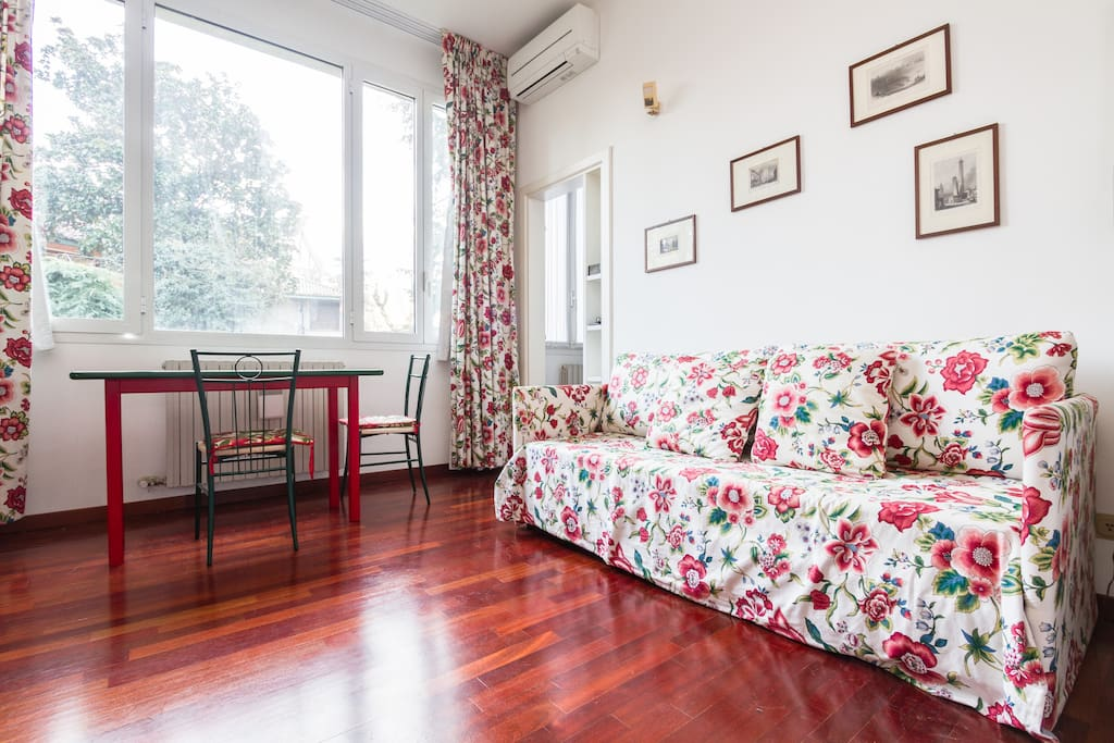 Living room with double bed sofa
