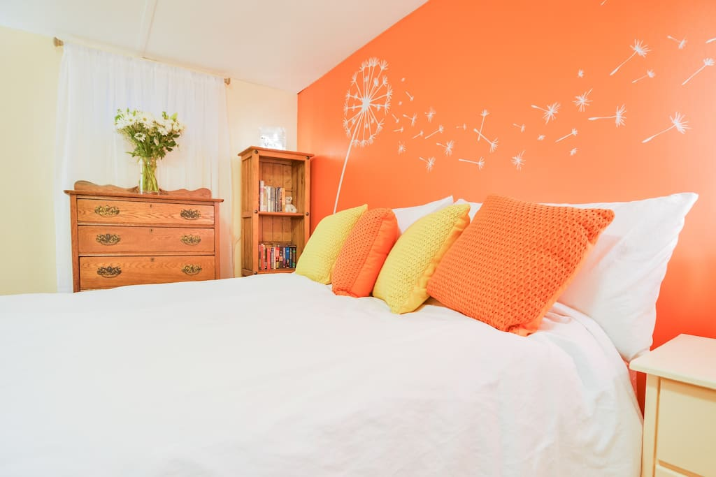 While it is a downstairs bedroom, we have made it light and bright for your enjoyment.