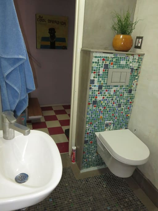 The room comes with a fabulous Euro-style mosaic bathroom - shower, toilet and sink - all yours!