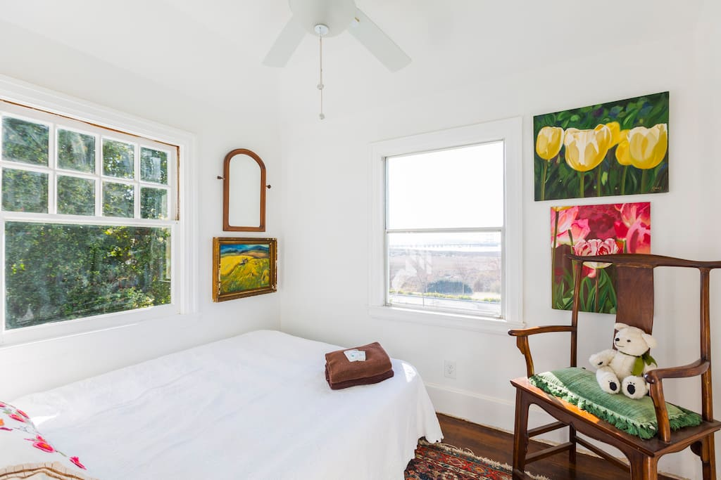 The Mare Island room or the Nursery.  It's a small room only available  with a modest supplement when the Napa River room is booked.  This room is comfortable for one.  The bed, an old sleigh bed is a small full.