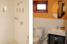 Ensuite bathroom 2.Shower area with central hot water and your bathroom essentials . Also  has shower curtain now.