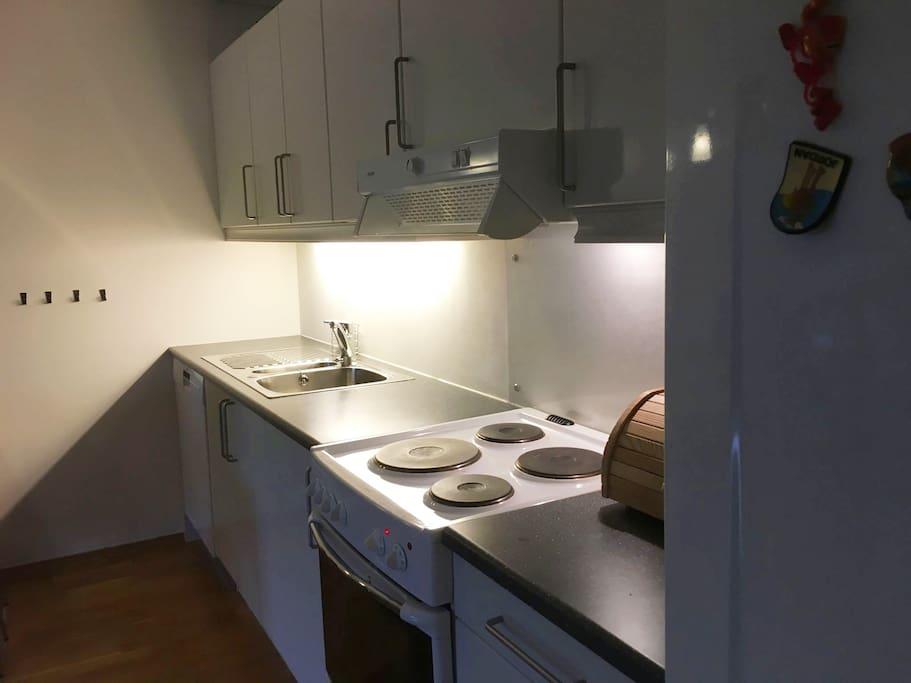 Godt utstyr kjøkken med alt du trenger til matlaging.