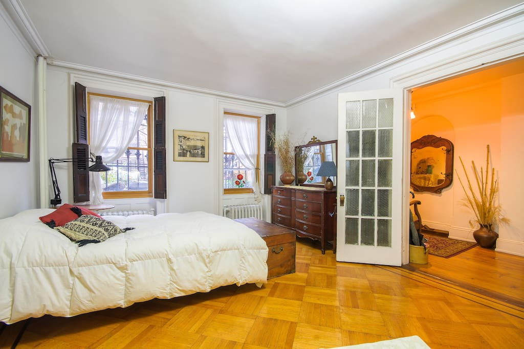The front bedroom, on the bottom floor sleeps one or two and a third person can sleep in the adjoining study.