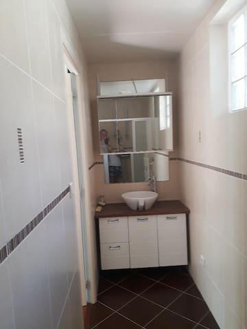 La salle de bains  avec WC (prise de vue depuis 'intérieur de la douche !)