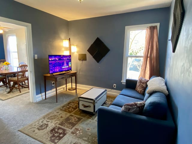 Living room TV has Roku streaming and basic cable channels