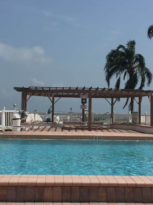 Large private pool on the Boca Ciega Bay