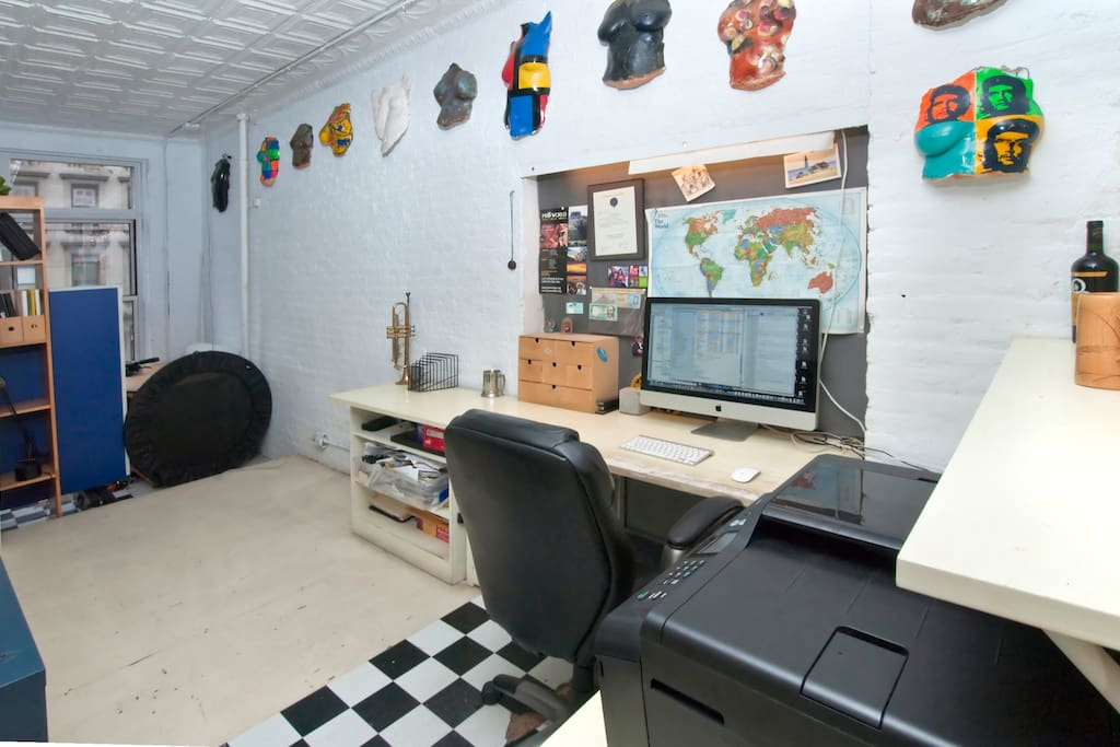 office area with space for semi private queen size air mattress