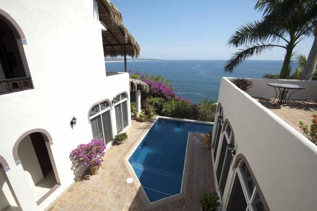 View from the top of Casa De La Paz with Pacific Ocean and pool view