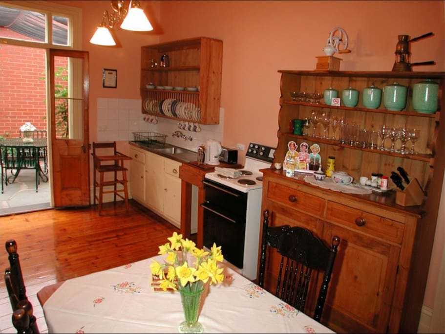 everything you need in the cottage kitchen, full sized fridge, oven, hot plates, microwave, tea & coffee etc.