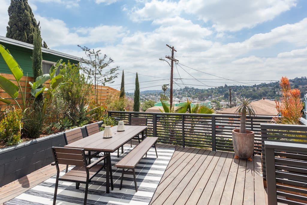 Outdoor dining space with gorgeous views
