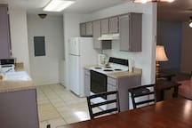 Kitchen fully equipped and onsite washer and dryer