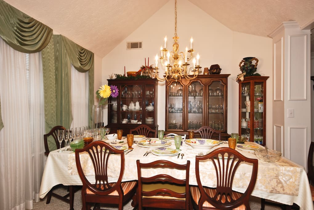 The dinnering room table is always set.  One never knows when dinner will be served.