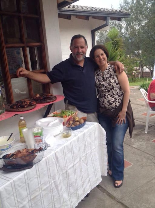 My wife Maria Jose and I enjoying cooking out with guests...