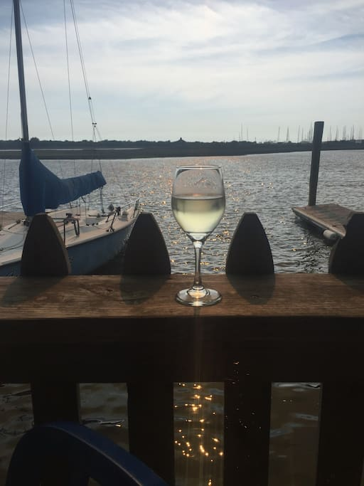 Cocktails by the sea...short drive from intimate condo to enjoy the rustic nature of Southport marinas.