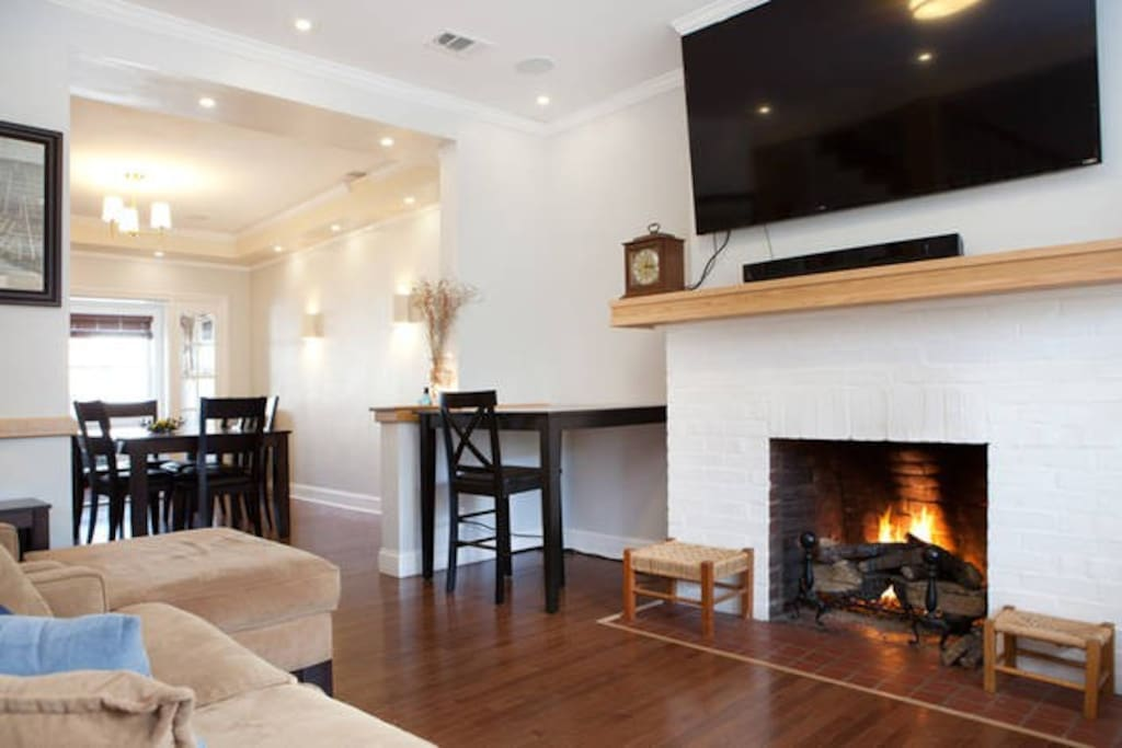 living room with gas fireplace - insta-cozy