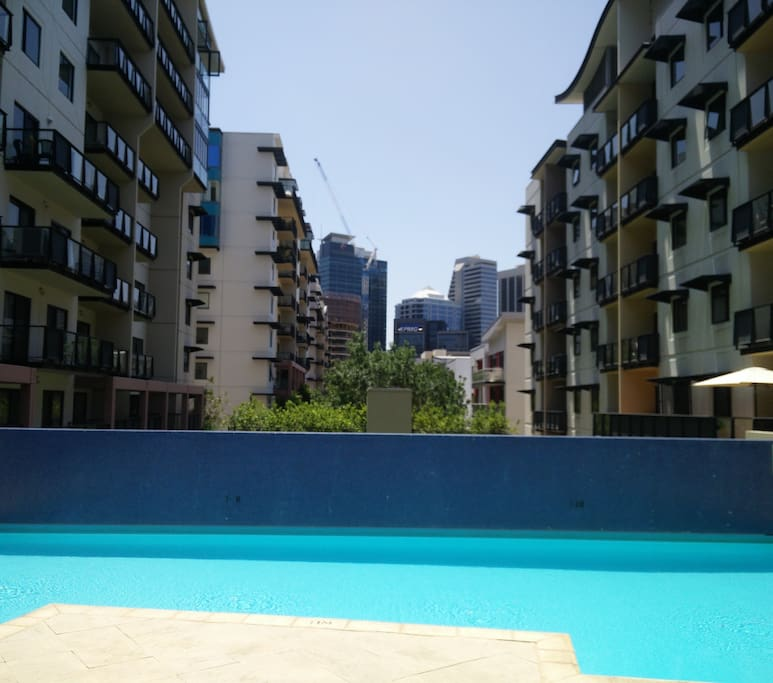 Two pools with city views.