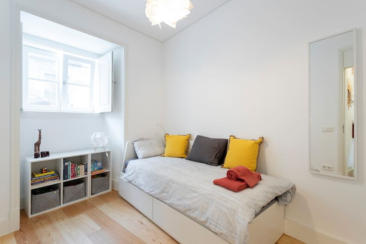 Second Bedroom. With a single bed that converts to a Double bed.