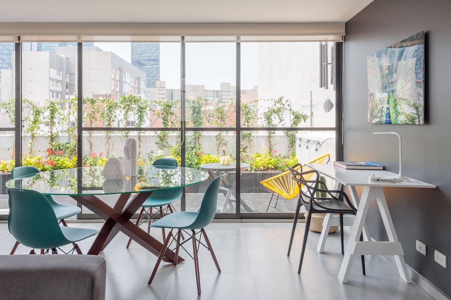 This unique apartment has a nice view on Mexico City's skyline.