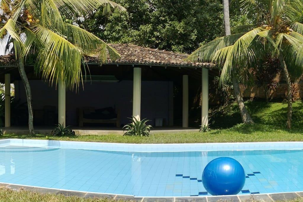 Swimming pool set in beautiful grounds