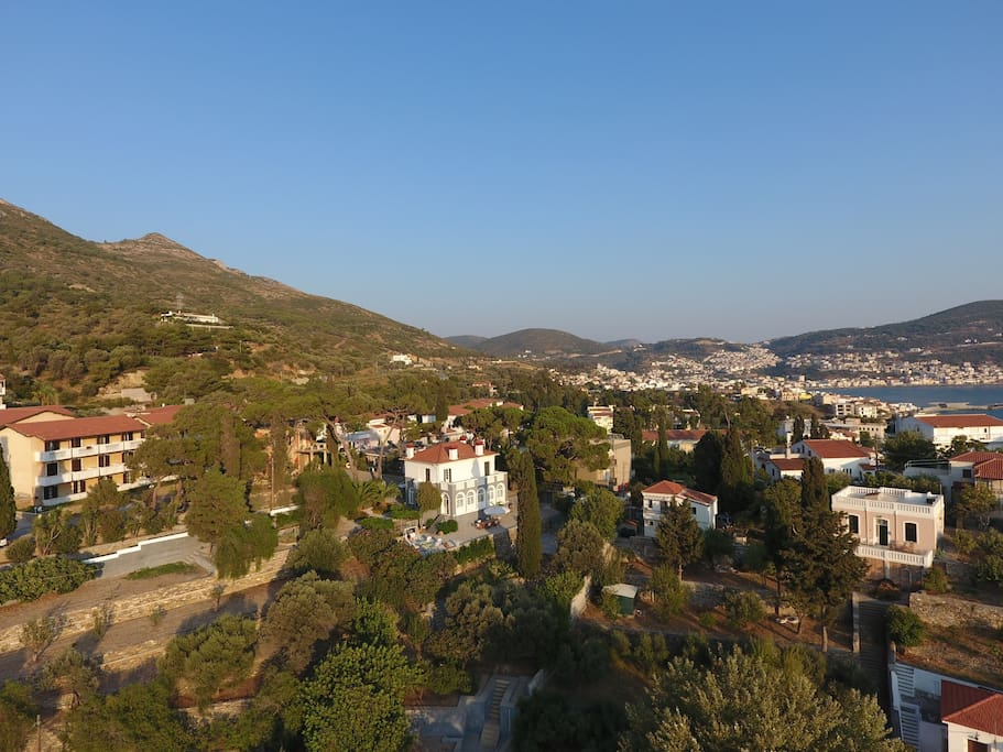 Samos town in the background