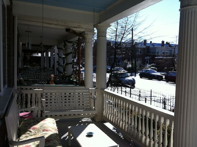 Front porch on a sunny winter's day
