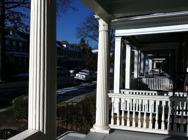 I love this image of the porches receding from view