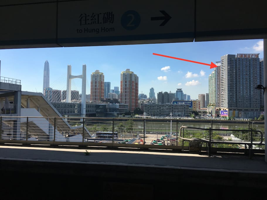 Your flat is right across the river from Hong Kong in Shenzhen next to Futian Checkpoint immigration bridge as seen in this picture from Hong Kong's Lok Ma Chau MTR station.