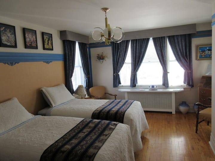 Chambre bleue, lits jumeaux et vue sur le fleuve
