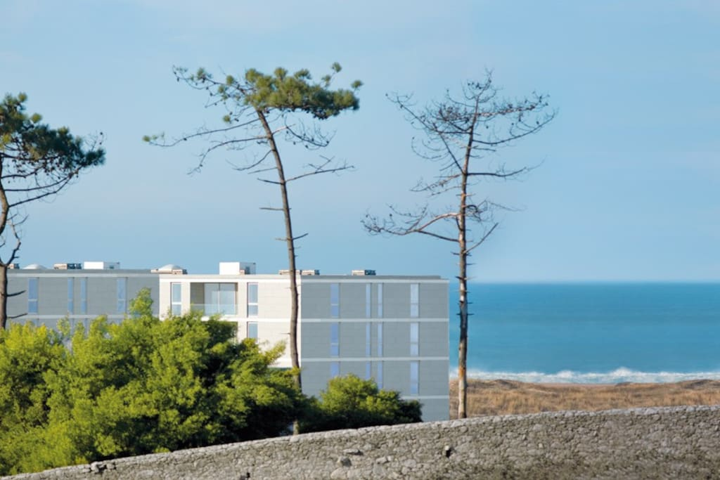 View of the apartment complex and the beach in front.